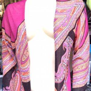 Chicos Supersized Paisley Rayon Blend Cardigan